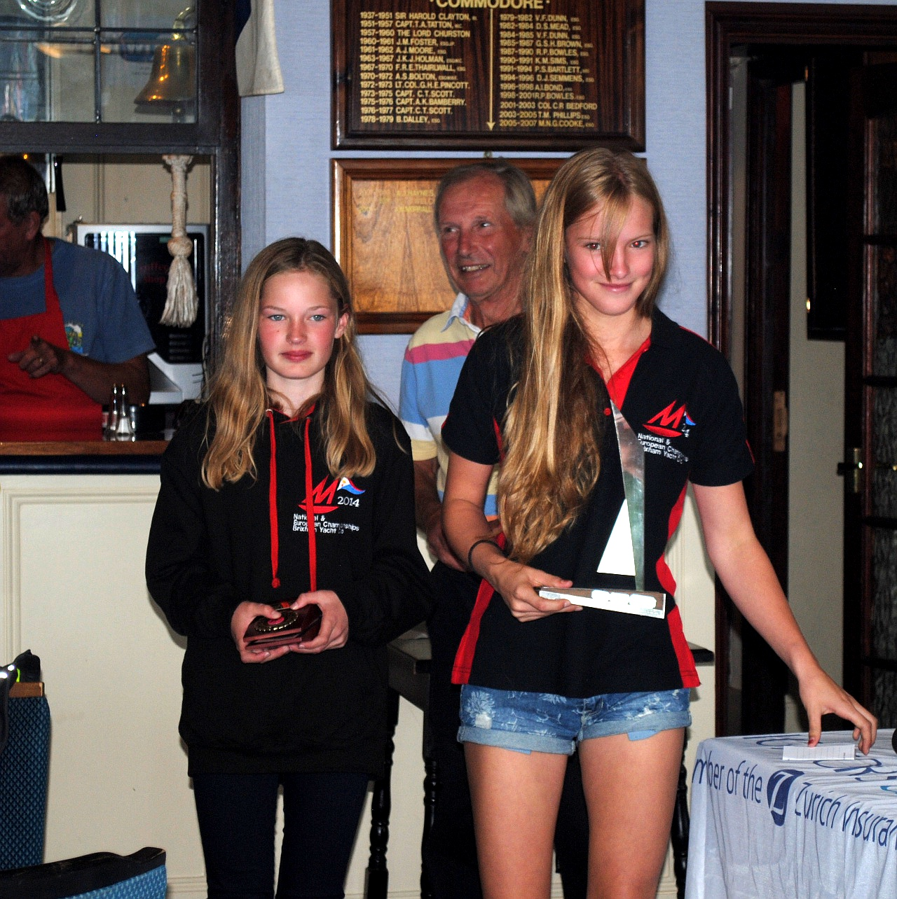 Two girls with the National Champions Trophy