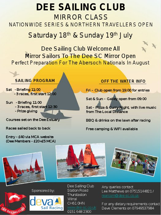 A poster for a Mirror Open Meeting at Dee Sailing Club