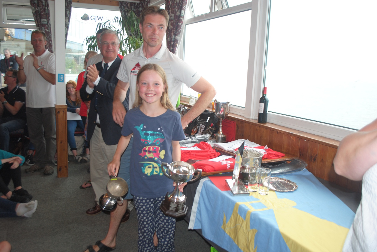 Daughter & father with some of their prizes
