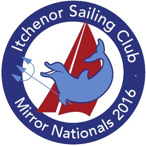 A logo comprising Itchenor dolphin, trident & Mirror sails