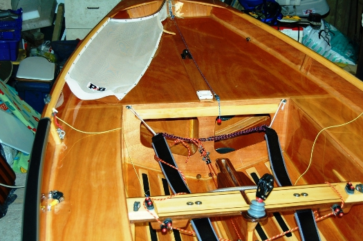 Interior of a superb wooden Mirror dinghy