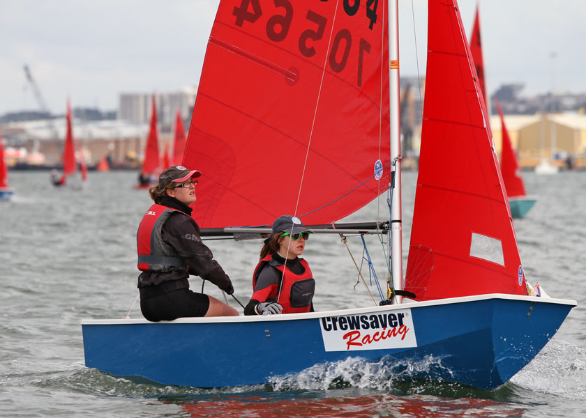 Blue GRP Mirror dinghy being sailed to windward by two girls