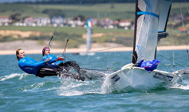 Two women sailing a high performance skiff dinghy