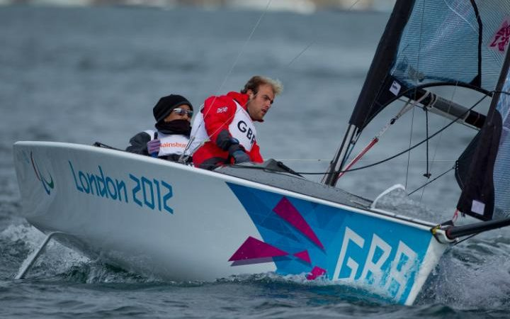 The GBR SKUD 18 sailing at the 2012 Paralympics
