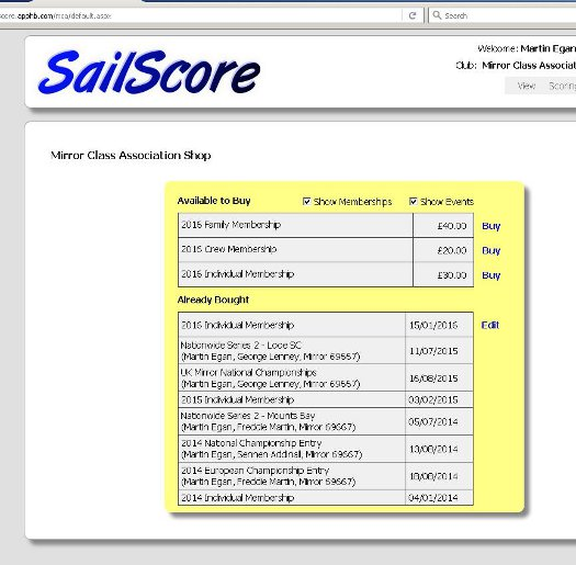 A screen shot of the SailScore MCA shop with 2016 memberships