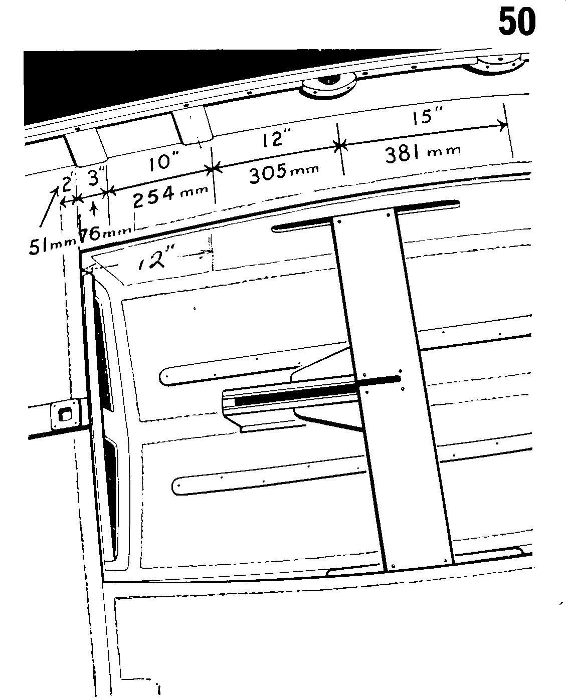 A drawing showing the position of the shroud and rowlock blocks on a Mirror dinghy