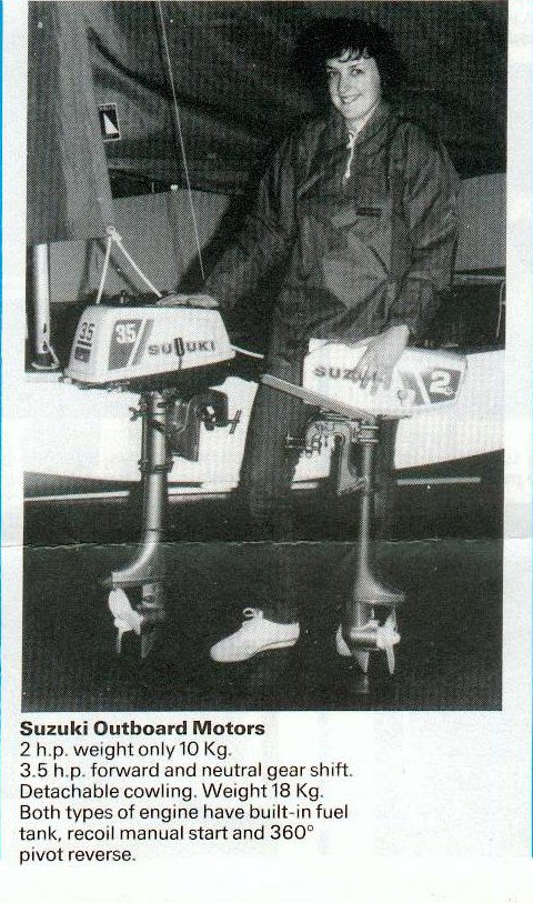 publicity photo of two outboards suitable for a Mirror dinghy