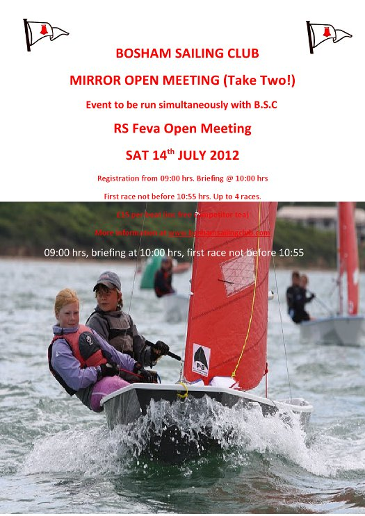 Poster for Bosham Sailing Club open meeting 2012 showing a photo of a grey Mirror sailing towards the camera