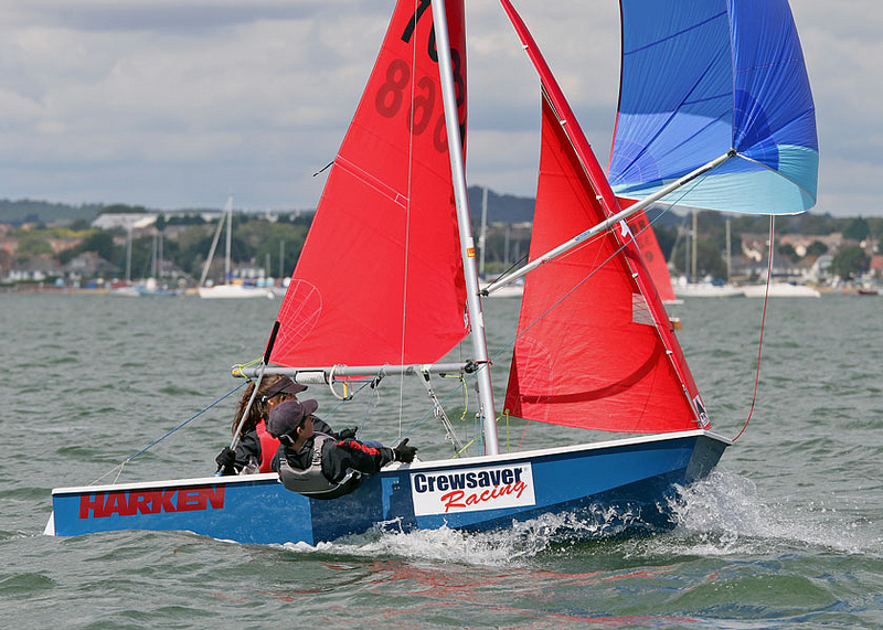 Mirror dinghy with spinnaker up and crew hiking