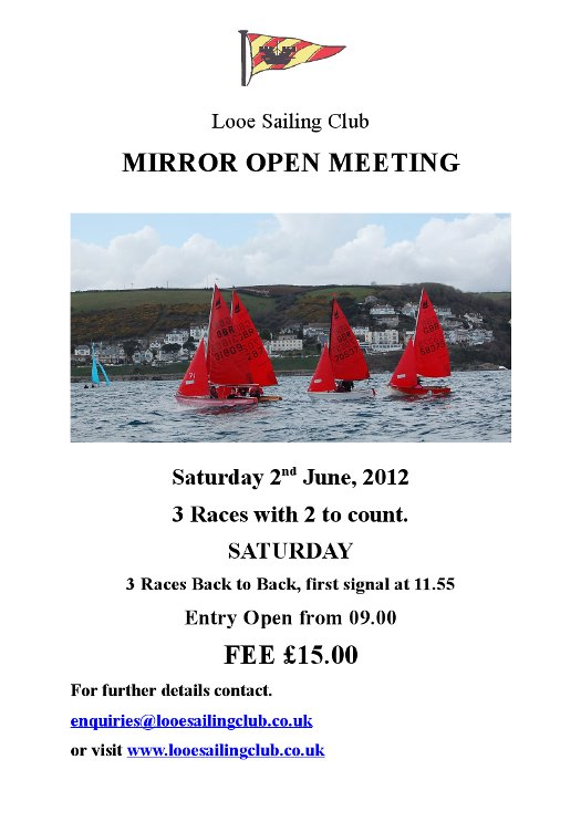 Poster for Mirror Open Meeting at Looe SC