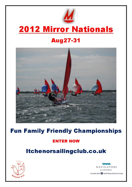 Poster for 2012 Mirror Nationals showing Mirror dinghy sailing away from the camera