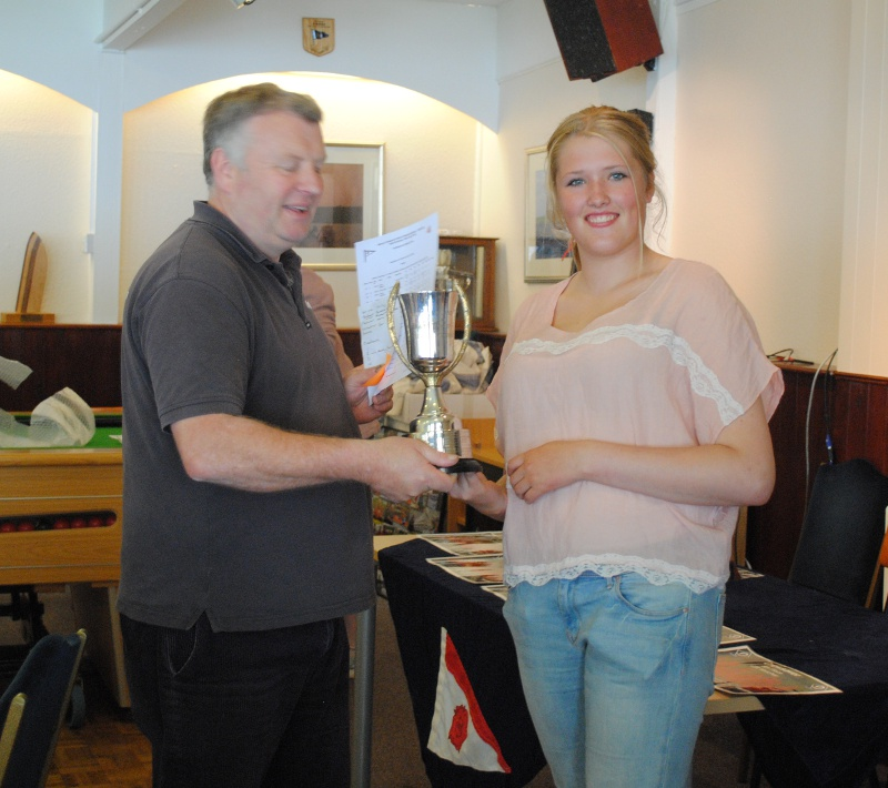 Emma Grayson receiving her prize as Overall winner