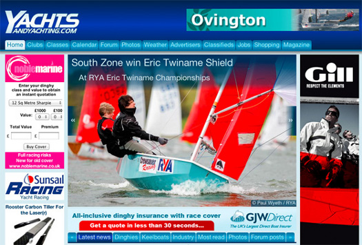 Screen shot of Yachts & Yachting website showing Mirror dinghy