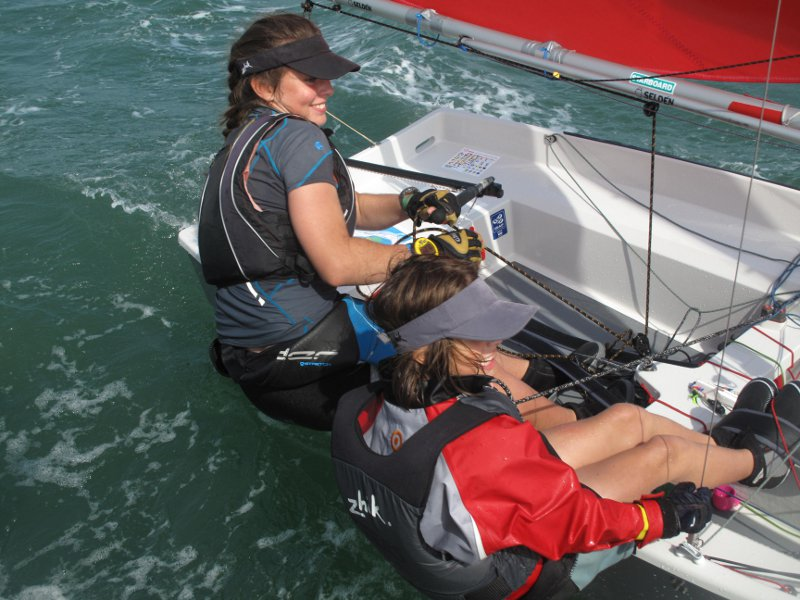 Two girls sailing a GRP Mirror dinghy