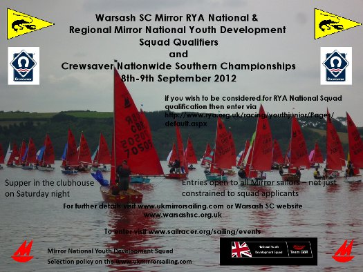 Poster for Warsash SC Mirror Southern Area Championships and Squad Selector
