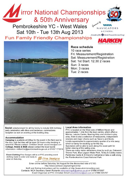 Poster showing photos of the area aroung Pembrokeshire Yacht Club