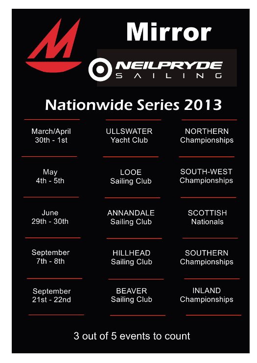 Poster, red and white print on a black background showing 2013 Mirror Nationwide Series dates