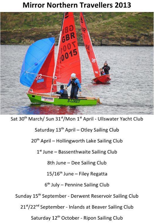 Poster with a photo of a green and a red Miiror dinghy