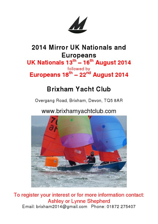 Poster for 2014 Mirror UK National & European Championships