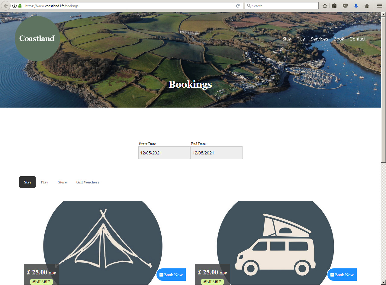 A camping website with main photo of the Trefusis headland estate viewed, by drone, from the east