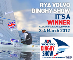 RYA dinghy show poster showing Ben Ainslie in his Finn