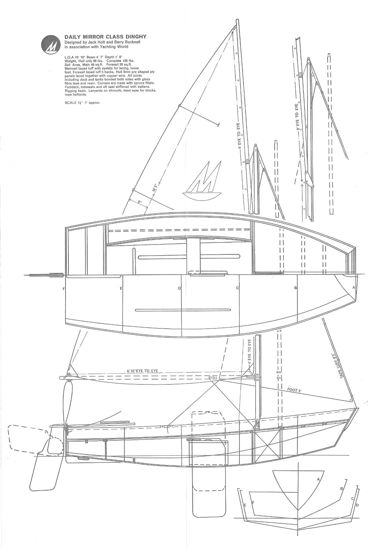 A technical specification drawing of a Mirror dinghy dating to around 1963