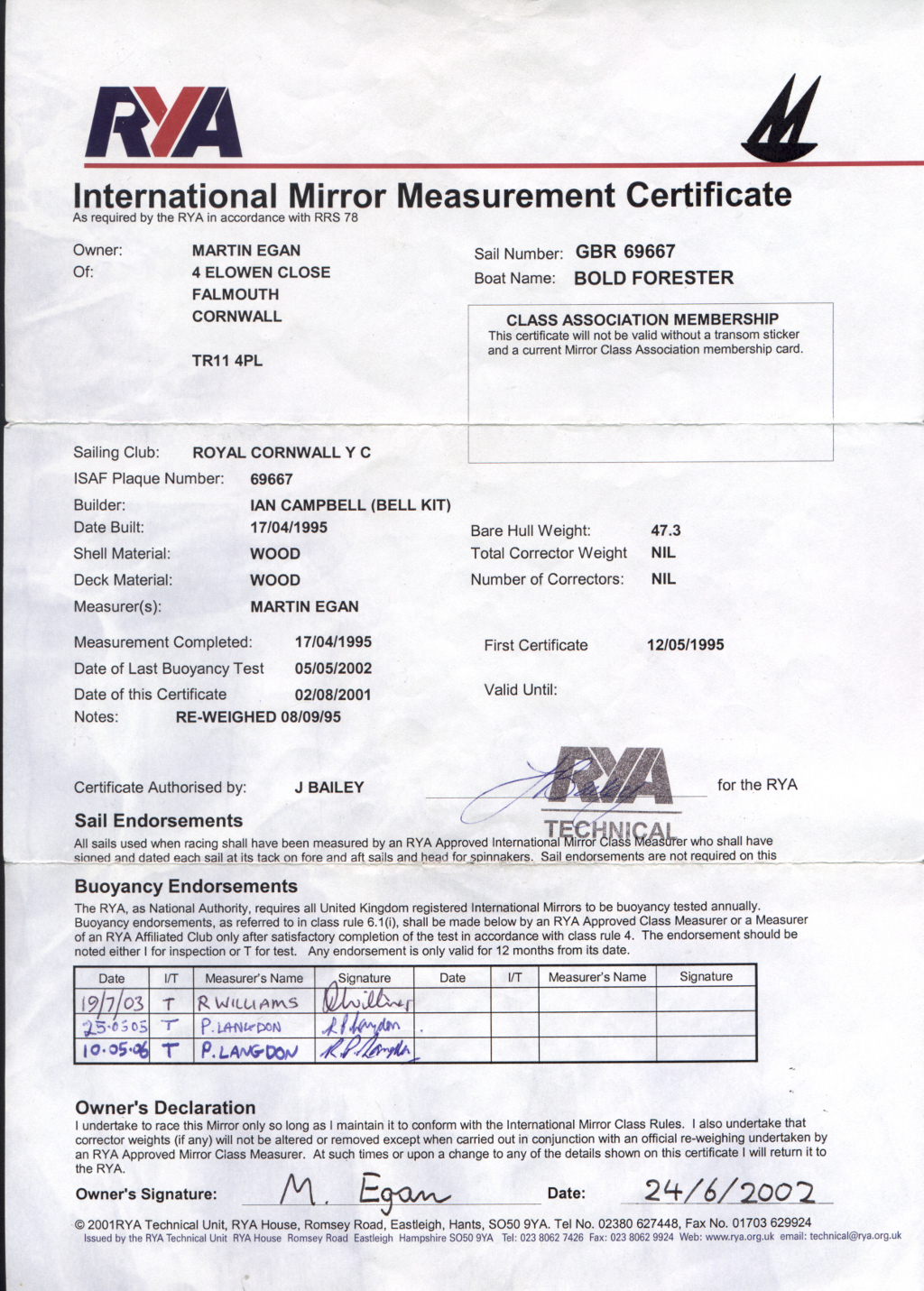 Measurement Certificate for a Mirror Dinghy giving details such as the owner, when it was measured, by who,...