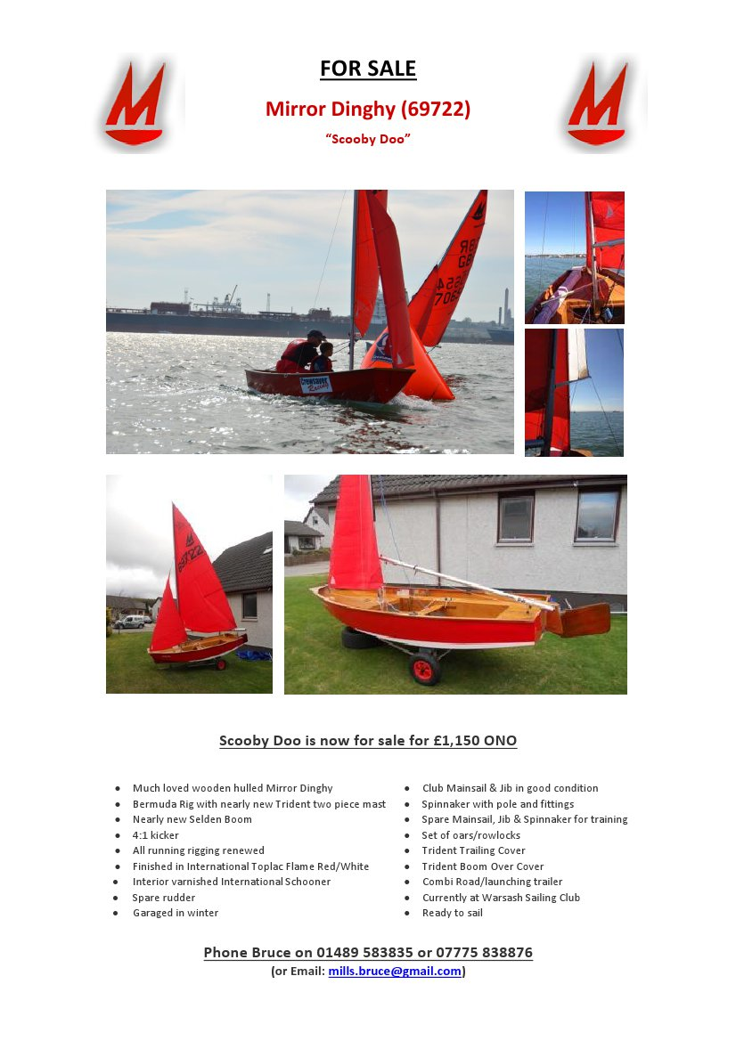 Poster advertising a Mirror dinghy for sale