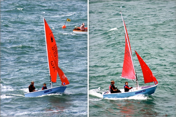 Two photos of a pale blue GRP Mirror dinghy sailing in a swell