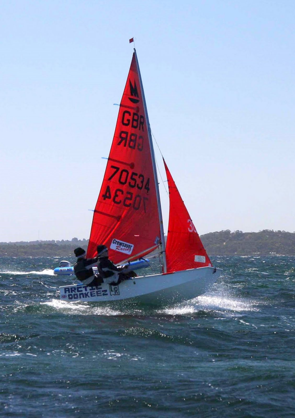 White GRP Mirror Dinghy sailing upwind with crew fully hiked