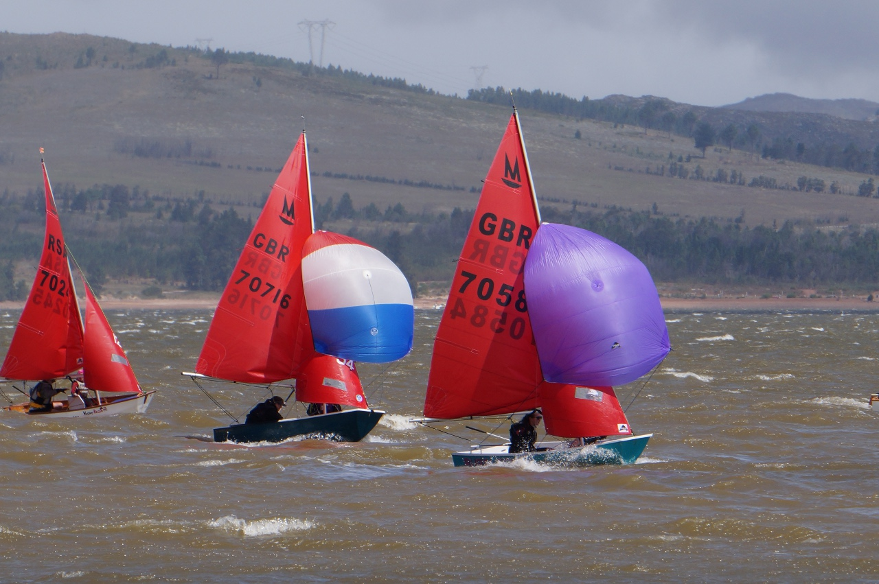 An aquamarine Mirror racing with spinnaker flying ahead of two others