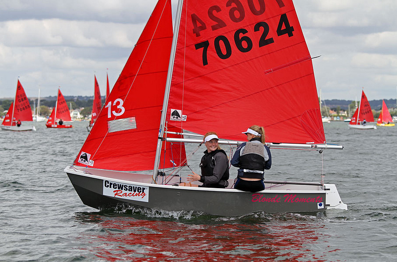 Grey GRP Mirror dinghy being sailed by two girls