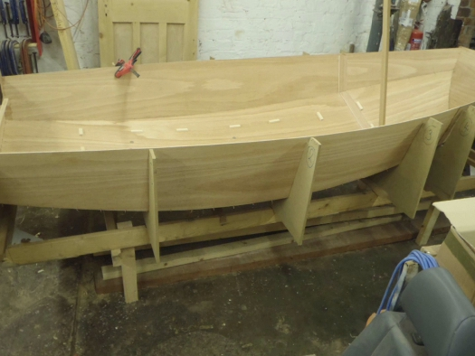 A Mirror dinghy under construction from a wooden kit