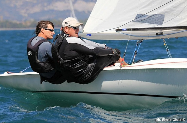 Flying Fifteen sailing to windward with mainsheet system partly visible