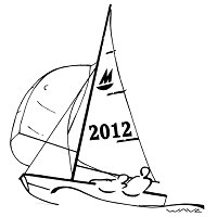 drawing of Mirror dinghy with spinnaker up and sail number 2012