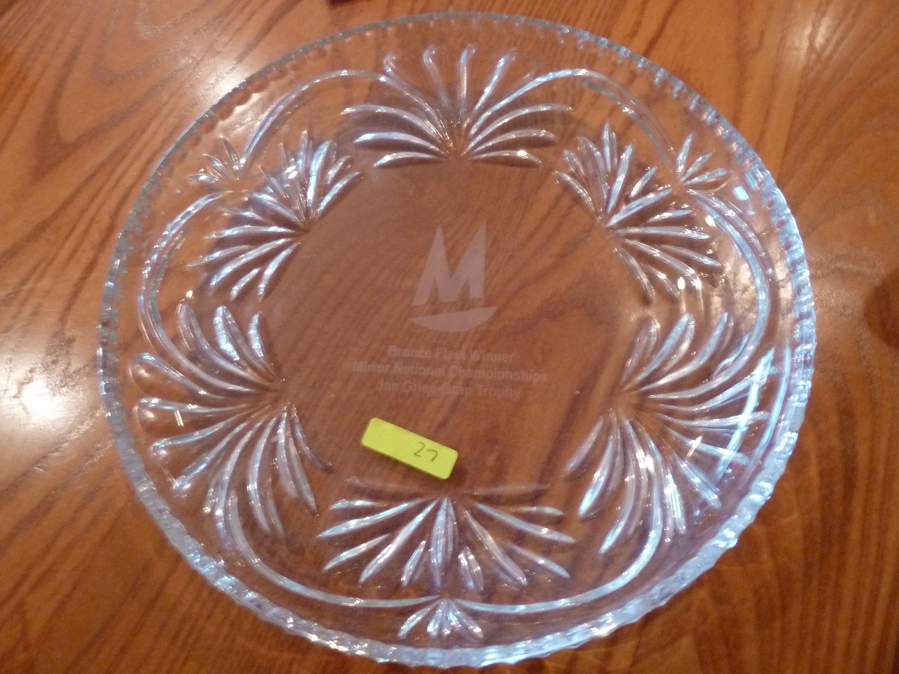 An engraved glass plate